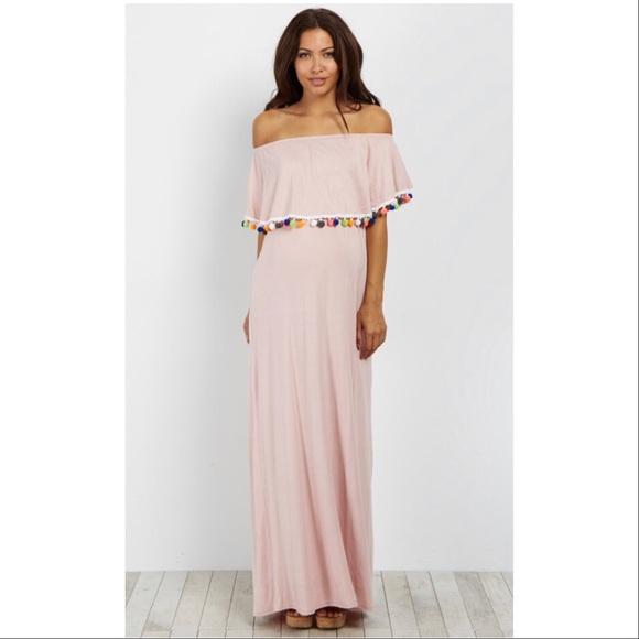 8790e4c3981dd PINKBLUSH Pom Off Shoulder Maternity Maxi Dress. M_5b854fef04ef50b7f8940d6c